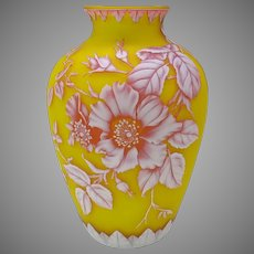 Large antique Thomas Webb 3 color carved cameo glass vase 10 1/4""