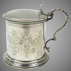 19th Century American coin silver engraved mustard pot