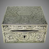 Antique American sterling silver dresser box with details of Dragons Mythical beasts