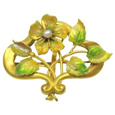 14k gold  Art Nouveau enamel & pearl watch pin brooch