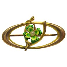 Victorian 10k gold enamel and pearl lucky 4 leaf clover & wishbone brooch pin
