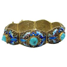 Antique Chinese gilded silver, turquoise and enamel bracelet