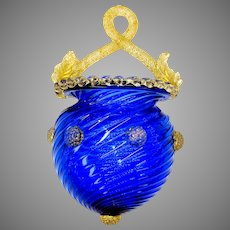 Venetian cobalt and gold glass wall pocket with strawberry pontils bosses