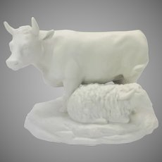 19th Century William Goss full figure parian porcelain figure Cow & Sheep