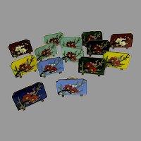 Antique set 14 Art Deco Japanese cloisonne place card menu holders