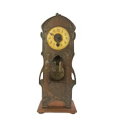 Art Nouveau mixed material miniature Grandfather mantle clock metal & wood