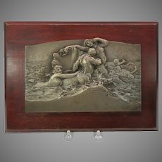 19th Century French silvered bronze Mermaid wall plaque signed