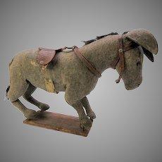 Sweet antique felt donkey on platform toy needs tlc