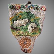Early 19th Century micro beaded bead work Rosary cross bag holder