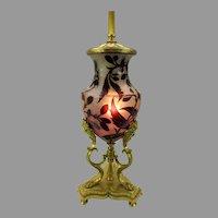 Antique signed Daum Nancy France cameo glass & gilt bronze lamp base