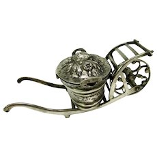Large early 800 silver flower basket snuff on a wheel barrow cart