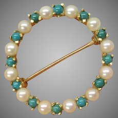 Vintage 14k seed pearl & turquoise circle brooch pin