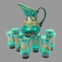 9 piece vintage enameled Venetian glass Lemonade set Masquerade scenes