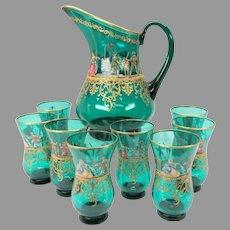 9 piece vintage enameled Venetian glass Lemonade set Masquerade scenes