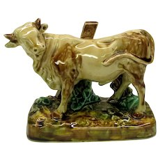 Antique French Sarreguemines majolica pottery figural cow statue figure