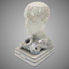 1850's  F. Bridges Phrenology head ceramic inkwell