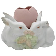 Heubach German bisque rabbit Bunny pair with egg figure vase