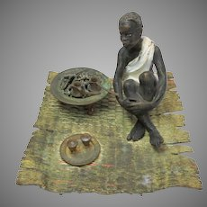 19th Century Franz Bergman cold painted bronze figure The Coffee seller Blackamoor