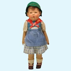 Antique Kathy Kruse painted oil cloth doll all original 17 1/2 inch