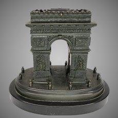 Large 1860's Grand Tour Architectural bronze desk box Arch de Triumph