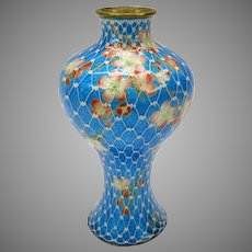 Antique signed Japanese Ginbari wireless cloisonne vase with netting