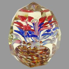 Antique faceted glass paperweight-flowers in pot