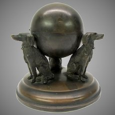 19th Century bronze inkwell with 3 seated Setter type dogs
