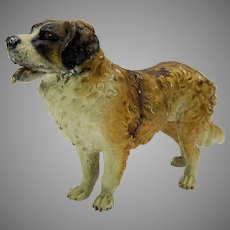 Large antique cold painted Vienna bronze St Bernard dog figure