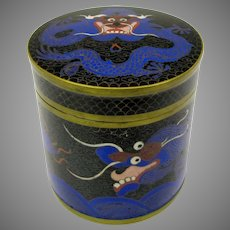 1900's Chinese cloisonne tea box or round humidor 5 claw Dragon