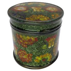 Antique Chinese cloisonne green floral round tea box or humidor