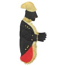 Antique Black Americana figural felt pen wipe or needle case Footman