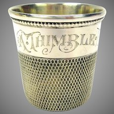 Vintage sterling silver oversize engraved sewing thimble shot glass