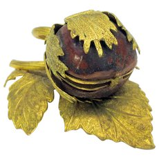 Victorian miniature compass inside ormolu trimmed tiny walnut shell