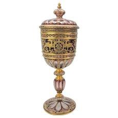 Big 19th Century Moser amethyst cut to clear gilded glass lidded urn pokal
