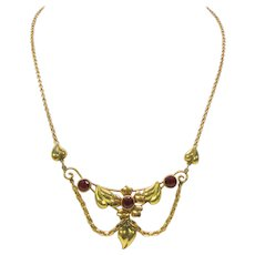 Vintage festoon necklace by Walter Lampl NY 12k gold fill with red stones