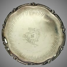19th Century French Christofle engraved silverplate serving tray