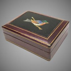 Antique Italian box with Pietra Dura plaque of a bird set in Moroccan leather
