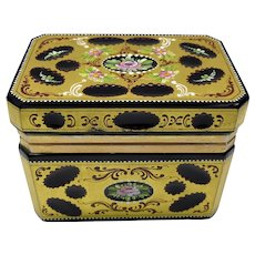 Antique Moser glass gilded and enamel decorated dresser casket box