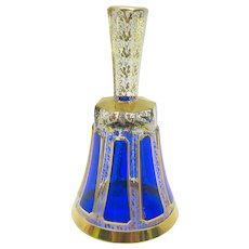 Vintage Moser cobalt cut to clear overlay gilded glass dinner bell