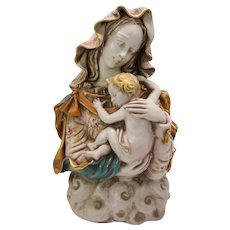 Large Eugene Pattarino school Italian art pottery bust of Woman with child on cloud base