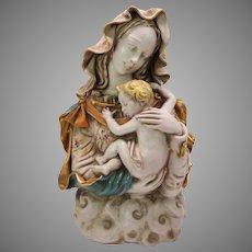 Large Eugene Pattarino school Italian art pottery bust of Woman with child on cloud base