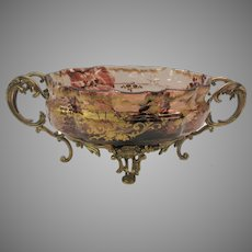 Big antique gilded tortoise glass and bronze centerpiece console bowl