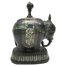 Large antique Chinese cloisonne and bronze figural Elephant document paperweight