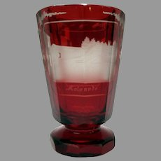 19th Century ruby cut to clear Spa water glass