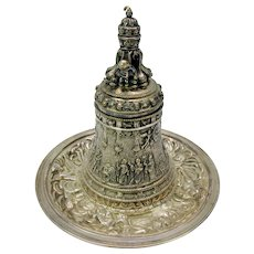 Antique silvered bronze Ecclesiastical table bell on matching tray