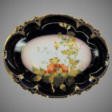 Antique Limoges porcelain cobalt and gilded dresser tray with floral decoration