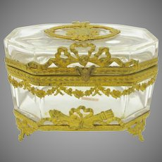 Vintage French gilded  bronze and crystal glass footed dresser casket box