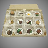 Original box of antique German doll house food on silvered plates
