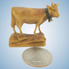 Vintage carved wood doll house miniature Cow with bell statue figure
