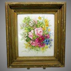 Big antique hand painted porcelain plaque of flowers artist signed